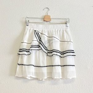 IRO Oviane Layered Embroidered Mini Skirt